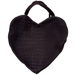 Gator Brown Leather Print Giant Heart Shaped Tote