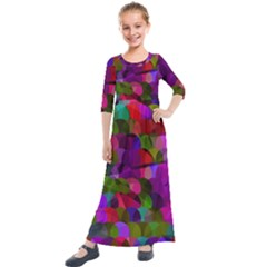 Geometric Kids  Quarter Sleeve Maxi Dress by luizavictorya72