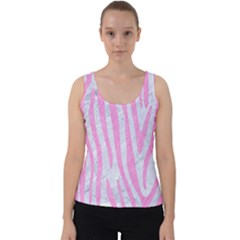 Skin4 White Marble & Pink Colored Pencil Velvet Tank Top