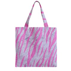 Skin3 White Marble & Pink Colored Pencil (r) Zipper Grocery Tote Bag by trendistuff