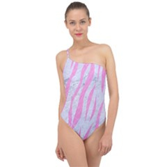 Skin3 White Marble & Pink Colored Pencil (r) Classic One Shoulder Swimsuit
