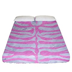 Skin2 White Marble & Pink Colored Pencil (r) Fitted Sheet (queen Size) by trendistuff