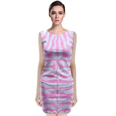 Skin2 White Marble & Pink Colored Pencil (r) Classic Sleeveless Midi Dress