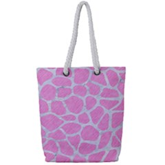 Skin1 White Marble & Pink Colored Pencil (r) Full Print Rope Handle Tote (small) by trendistuff