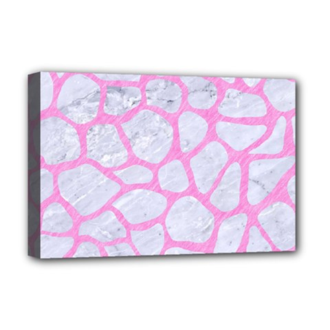 Skin1 White Marble & Pink Colored Pencil Deluxe Canvas 18  X 12   by trendistuff