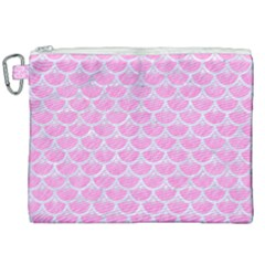 Scales3 White Marble & Pink Colored Pencil Canvas Cosmetic Bag (xxl)