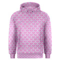 Scales3 White Marble & Pink Colored Pencil Men s Overhead Hoodie