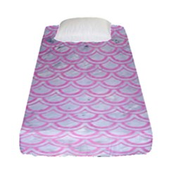 Scales2 White Marble & Pink Colored Pencil (r) Fitted Sheet (single Size) by trendistuff