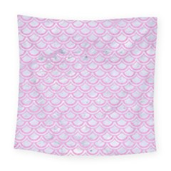 Scales2 White Marble & Pink Colored Pencil (r) Square Tapestry (large)