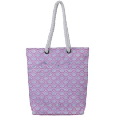 Scales2 White Marble & Pink Colored Pencil (r) Full Print Rope Handle Tote (small)