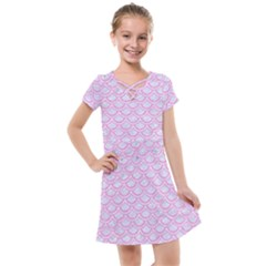 Scales2 White Marble & Pink Colored Pencil (r) Kids  Cross Web Dress