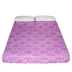 Scales2 White Marble & Pink Colored Pencil Fitted Sheet (king Size) by trendistuff