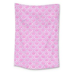 Scales2 White Marble & Pink Colored Pencil Large Tapestry by trendistuff