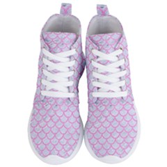 Scales1 White Marble & Pink Colored Pencil (r) Women s Lightweight High Top Sneakers by trendistuff