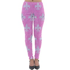 Royal1 White Marble & Pink Colored Pencil (r) Lightweight Velour Leggings