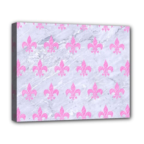 Royal1 White Marble & Pink Colored Pencil Deluxe Canvas 20  X 16   by trendistuff