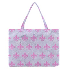 Royal1 White Marble & Pink Colored Pencil Zipper Medium Tote Bag by trendistuff