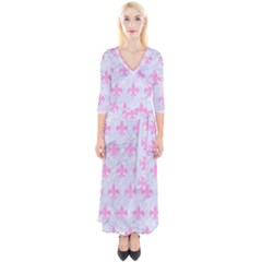 Royal1 White Marble & Pink Colored Pencil Quarter Sleeve Wrap Maxi Dress