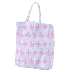 Royal1 White Marble & Pink Colored Pencil Giant Grocery Zipper Tote by trendistuff
