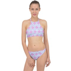 Royal1 White Marble & Pink Colored Pencil Racer Front Bikini Set by trendistuff