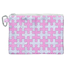 Puzzle1 White Marble & Pink Colored Pencil Canvas Cosmetic Bag (xl) by trendistuff