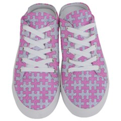 Puzzle1 White Marble & Pink Colored Pencil Half Slippers
