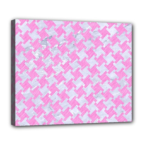 Houndstooth2 White Marble & Pink Colored Pencil Deluxe Canvas 24  X 20   by trendistuff