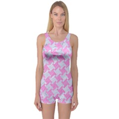 Houndstooth2 White Marble & Pink Colored Pencil One Piece Boyleg Swimsuit by trendistuff