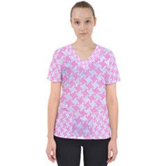 Houndstooth2 White Marble & Pink Colored Pencil Scrub Top