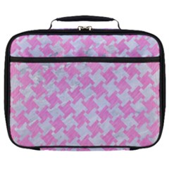 Houndstooth2 White Marble & Pink Colored Pencil Full Print Lunch Bag by trendistuff