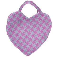 Houndstooth2 White Marble & Pink Colored Pencil Giant Heart Shaped Tote by trendistuff