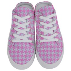 Houndstooth1 White Marble & Pink Colored Pencil Half Slippers by trendistuff