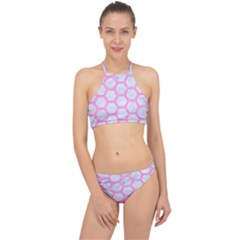 Hexagon2 White Marble & Pink Colored Pencil (r) Racer Front Bikini Set by trendistuff
