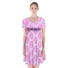 Hexagon2 White Marble & Pink Colored Pencil Short Sleeve V Neck Flare Dress by trendistuff
