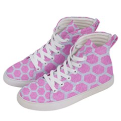 Hexagon2 White Marble & Pink Colored Pencil Women s Hi Top Skate Sneakers by trendistuff