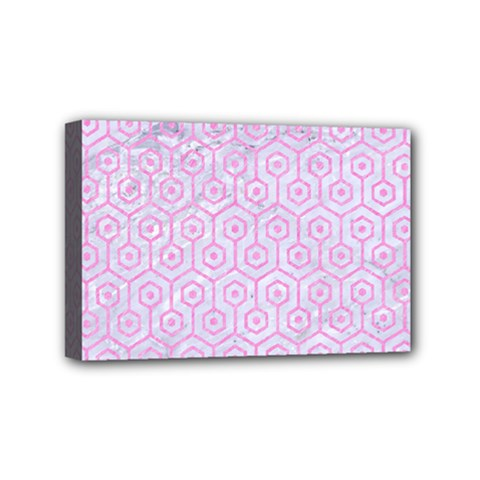 Hexagon1 White Marble & Pink Colored Pencil (r) Mini Canvas 6  X 4  by trendistuff