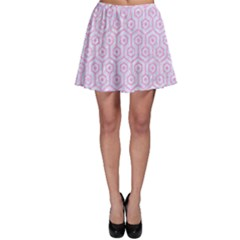 Hexagon1 White Marble & Pink Colored Pencil (r) Skater Skirt by trendistuff