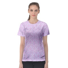 Hexagon1 White Marble & Pink Colored Pencil (r) Women s Sport Mesh Tee by trendistuff