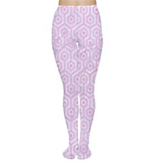 Hexagon1 White Marble & Pink Colored Pencil (r) Women s Tights by trendistuff