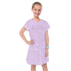 Hexagon1 White Marble & Pink Colored Pencil (r) Kids  Drop Waist Dress by trendistuff