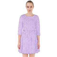 Hexagon1 White Marble & Pink Colored Pencil (r) Smock Dress by trendistuff