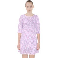 Hexagon1 White Marble & Pink Colored Pencil (r) Pocket Dress by trendistuff