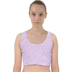 Hexagon1 White Marble & Pink Colored Pencil (r) Velvet Racer Back Crop Top by trendistuff