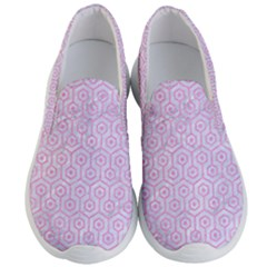 Hexagon1 White Marble & Pink Colored Pencil (r) Men s Lightweight Slip Ons