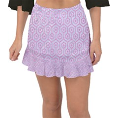 Hexagon1 White Marble & Pink Colored Pencil (r) Fishtail Mini Chiffon Skirt by trendistuff