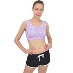 Hexagon1 White Marble & Pink Colored Pencil (r) V Back Sports Bra