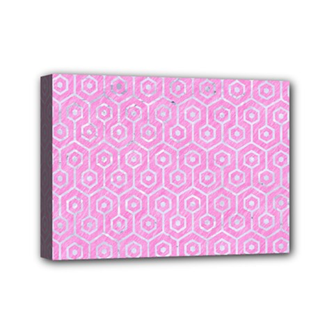 Hexagon1 White Marble & Pink Colored Pencil Mini Canvas 7  X 5  by trendistuff