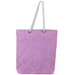 Hexagon1 White Marble & Pink Colored Pencil Full Print Rope Handle Tote (large) by trendistuff