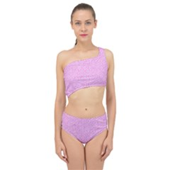 Hexagon1 White Marble & Pink Colored Pencil Spliced Up Two Piece Swimsuit