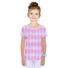 Diamond1 White Marble & Pink Colored Pencil Kids  One Piece Tee by trendistuff